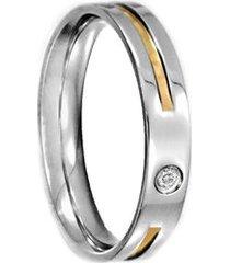 aliança de aço c/ zircônia e filete de ouro (unidade)-12