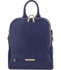 tuscany leather tl141376 tl bag - zaino donna in pelle morbida blu scuro