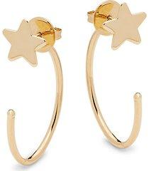 14k yellow gold star half-hoop earrings