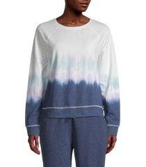 beach lunch lounge women's tillie tie-dyed cotton-blend sweatshirt - dark indigo - size m