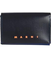 marni logo print snap lock wallet