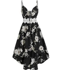 bowknot floral print lace panel cami high low dress