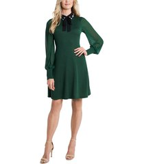 women's cece embellished collar tie neck long sleeve dress, size x-large - green