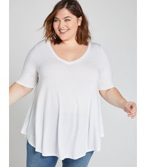 lane bryant women's perfect sleeve v-neck swing tunic top 26/28 white