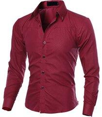 uomo camicia da affari casual in colore a tinta unita camicia disegno a scacchi a maniche lunghe di taglia forte