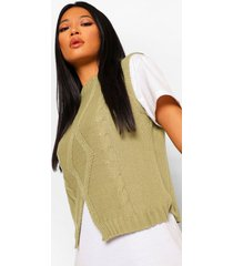 petite cable knit tank sweater, sage