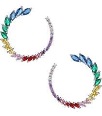eye candy la women's luxe multicolored crystal hoop earrings - grey