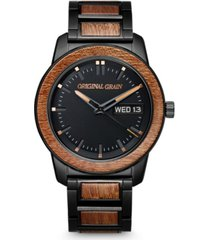 original grain men's sapele wood paired with black stainless steel bracelet watch 42mm