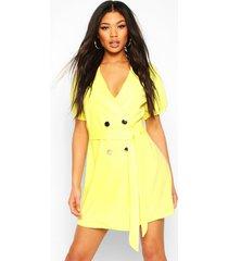 blazer jurk met pofmouwen knopen en ceintuur, geel