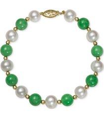 14k gold bracelet, cultured freshwater pearl and jade