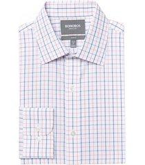 men's bonobos slim fit wrinkle free check dress shirt, size 16 33 - pink