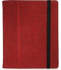 graphic image croc-embossed nubuck leather ipad case - red