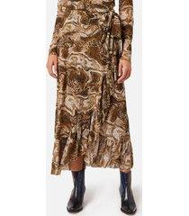 ganni women's printed mesh skirt - tiger's eye - eu 40/uk 12