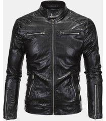 uomo giacca da motociclista in pelle pu con zip a listino di stile punk alla moda