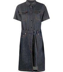 a.p.c. x sacai shortsleeved wrap denim dress - blue