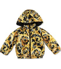 baroque print down feather jacket with hood