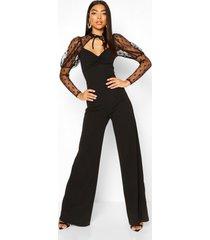 tall polka dot high neck wide leg jumpsuit, black