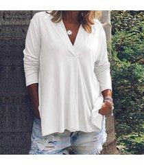zanzea de mujer de manga larga casual llanura de la blusa floja de gran tamaño de las señoras de las tapas del puente camisa -blanco