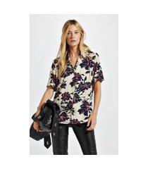 camisa de viscose estampa floral bel est floral bel victoria e preto - 36