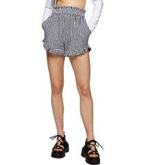 women's topshop seersucker gingham shorts, size 12 us - black