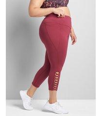 lane bryant women's livi high-rise signature stretch capri legging - strappy hem 38/40 zinfandel