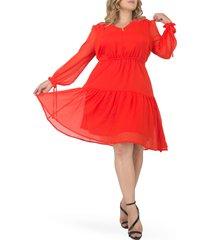 plus size women's standards & practices prairie chiffon long sleeve dress, size 1x - orange