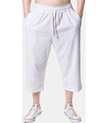 mens beach casual baggy linen vitello pantaloni solid color allentato pantaloni