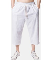 mens beach casual baggy linen vitello pantaloni solid color allentato pantaloni