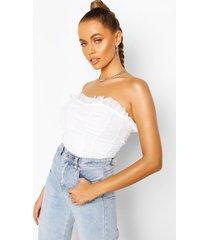 longline mesh corset top, white