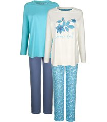 pyjama's per 2 stuks blue moon ecru::jadegroen::rookblauw