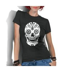 camiseta criativa urbana caveira mexicana flores