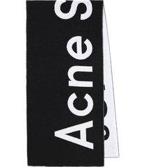 black and white logo scarf