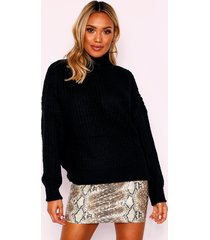 knitted fisherman knot high neck sweater, cream