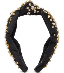 'jet' glass crystal stud knot velvet headband