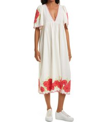 the great. the great floral embroidered applique scalloped midi dress, size 1 in cream w/red at nordstrom