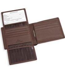 royce new york rfid blocking leather bi-fold wallet - brown
