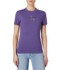 camiseta slim con logo de purpurina fucsia calvin klein
