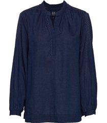 1969 premium shirred denim popover shirt blouse lange mouwen blauw gap