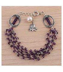 amethyst and cultured pearl beaded bracelet, 'lotus beauty' (india)