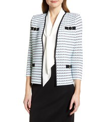 women's ming wang tweed collarless jacket