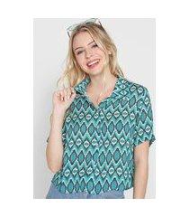 camisa agua doce estampada verde/azul
