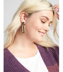 lane bryant women's hammered rectangle drop earrings onesz gold tone