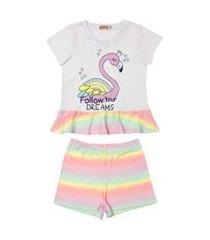conjunto pijama flamingo douvelin rosa