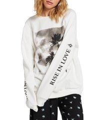 women's volcom coco crewneck sweatshirt, size x-small - ivory