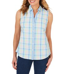 women's foxcroft elisa spring gingham wrinkle free shirt