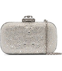 alexander mcqueen crystal-embellished suede box clutch - silver