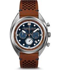 original grain men's grainmaster mahogany genuine leather strap watch 45mm