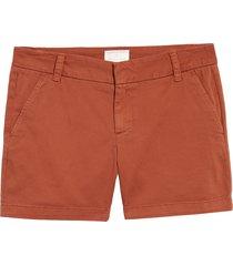 petite women's caslon cotton twill shorts, size 12p - brown
