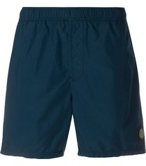 stone island logo-patch swim shorts - blue
