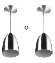 kit 2 lustres pendente cone de alumínio 20x14cm escovado